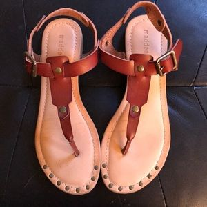 Madden Girl Brown Leather Sandals